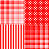 Red seamless patterns striped, plaid, spotted. Vector set of 4 red patterns striped, plaid, spotted . Good for Baby Shower, Birthday, Mother`s Day, Father`s Day Royalty Free Stock Photos