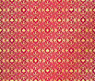 Red seamless poker background with golden, damask Royalty Free Stock Image