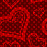Red seamless rose-and-heart pattern Stock Images