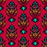 Red Seamless Vector Floral damask Stock Photography
