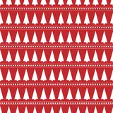 Red seamless with winter design christmas tree.  stock illustration