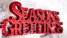 Red Seasons Greetings Sign for christmas Stock Photos