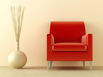 Red seat. Red modern style seat and ornaments vase in interior Royalty Free Stock Images