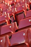 Red Seat. A section of seating at a famous sports stadium Stock Photo