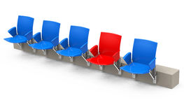 The red seat. 3d generated picture of a row of stadium seats vector illustration