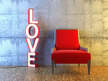 Red seat and light love Stock Photo