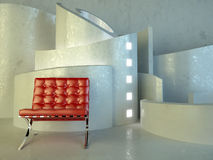 Red seat in modern architecture Royalty Free Stock Image