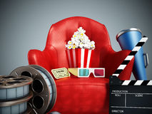 Red seat, pop corn, film reel and slate. 3D illustration. Red seat, pop corn, ticket, film reel and slate. 3D illustration Stock Images