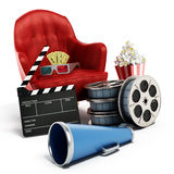 Red seat, pop corn, film reel and slate. 3D illustration. Red seat, pop corn, ticket, film reel and slate. 3D illustration Royalty Free Stock Photo
