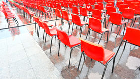 Red seat rows Stock Photos