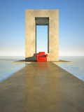 Red seat on sea Royalty Free Stock Photo