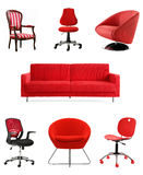 Red Seating Furniture. Collection of bright red furniture - chairs and sofa vector illustration