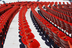 Red seats. Several numbered red seats in an auditorium Stock Photos