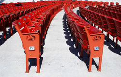 Red seats. Several numbered red seats in an auditorium Royalty Free Stock Image
