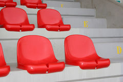 Red seats. On a stand Royalty Free Stock Photo