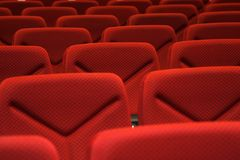 Red seats. Rows of red seats in a hall for a conference Royalty Free Stock Photos