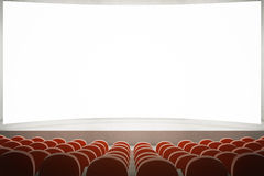 Red seats in cinema. Movie theater with rows of red seats and large blank screen. Mock up, 3D Rendering Stock Photography