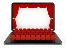 Red seats on laptop computer with blank screen. 3D illustration.  Stock Photo