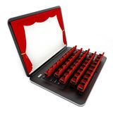 Red seats on laptop computer with blank screen. 3D illustration.  stock illustration