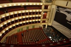 The huge concert hall of the Vienna National Opera. royalty free stock image