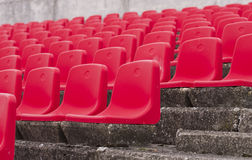 Red seats on stadium Stock Image