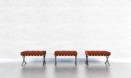 Red Seats. Three red seats in front of a white wall vector illustration