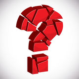 Red sectored 3d question mark on white background. With outline vector illustration