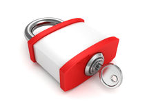 Red security padlock and key on white background Stock Photos