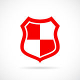 Red security shield vector icon Royalty Free Stock Images