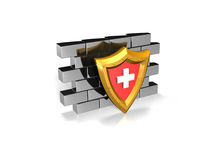 Red security shield on a wall Stock Photography