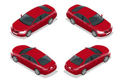Red Sedan Car. Flat isometric high quality city transport icon set. Vector illustration. Stock Photos