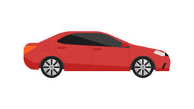 Red sedan car icon vector in flat design. Red sedan car icon isolated on white background vector illustration. Modern automobile, people transportation, auto stock illustration