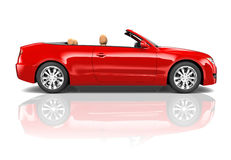Red Sedan Convertible Stock Photo