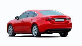 Red sedan rear view Stock Photo