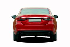 Red sedan rear View Royalty Free Stock Photography