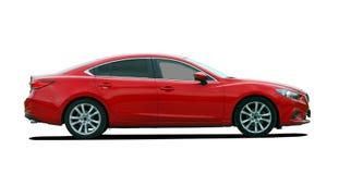 Red sedan side view Royalty Free Stock Photos