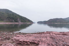 Red sedimentary Rock .Hung Shek Mun,Hong Kong Stock Images
