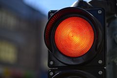 The red semaphore light. Trafic control light. royalty free stock photography