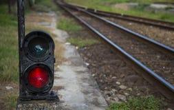 Red semaphore near railway Stock Images