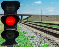 Red semaphore near railway Stock Photos