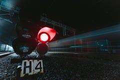 Red semaphore railway night Stock Photo