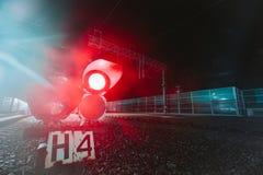 Red semaphore railway night Stock Image