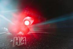 Red semaphore railway night Royalty Free Stock Image