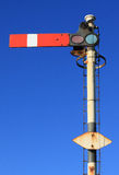 Red semaphore railway signal at stop (portrait) Royalty Free Stock Photography