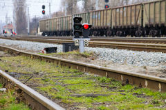 Red semaphore signal on arailway Royalty Free Stock Photography