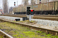 Red semaphore signal on a railway Royalty Free Stock Image