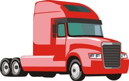 Red semi trailer truck Royalty Free Stock Photography