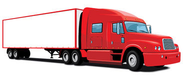 Red semi truck. Vector semi truck on white background, without gradients Stock Image