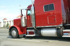 Red semi truck Stock Photography