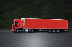 Red semi truck. On the road again Royalty Free Stock Photos